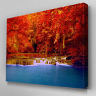 C408 Autumn Waterfalls Canvas Wall Art Ready to Hang Picture Print