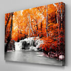 C396 Autumn Forest Waterfall Canvas Wall Art Ready to Hang Picture Print