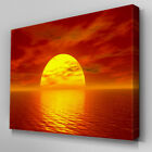 C063 Orange Sunset Ocean Canvas Wall Art Ready to Hang Picture Print