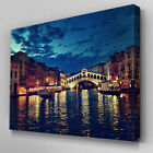 C175 Venice City Canal Nigh Canvas Wall Art Ready to Hang Picture Print