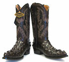 Men's Crocodile Alligator Head Design Leather Cowboy Western J Toe Boots Brown