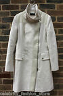 Karen Millen Cream Modern Faux Leather Panel Moleskin Trench Jacket Coat 10 - 16