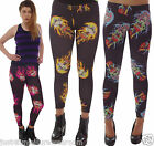 FLAME TATTOO SKULL LEGGINGS size 8-18 GOTH EMO ALTERNATIVE