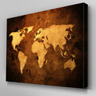 AB092 Sepia Leather World Map Canvas Wall Art Ready to Hang Picture Print