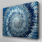 AB283 Blue Silver Swirl Design Canvas Wall Art Ready to Hang Picture Print
