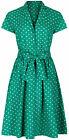 40s 50s Retro Vintage Style Green Polka Dot Belted A-Line Shirt Dress NEW 8 - 20