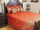 Peacock Bedding Set - King Size Gold and Red Brocade Zari Indian Collection