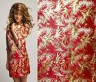 GOLDEN METALLIC THREAD FEATHER BAMBOO MOTIF RED Asian Brocade Silk Fabric GP-605