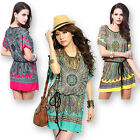 Women's Ice Silk Folk Art Floral Batwing short Sleeves Mini Dress Loose T-shirt