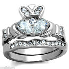 Claddagh Clear CZ Stones Silver Stainless Steel Wedding Engagement Ring Set 7-8