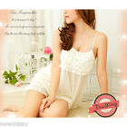 White Pyjama Set Silky Nightie Nightwear Lingerie Vest Short Sleepwear Chemise S