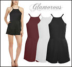 Ladies Plain Playsuits By GLAMOROUS Brand - Black White Burgundy - All Sizes