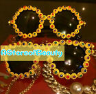 Unique DIY Fashion women female baroque metal rivet punk Rhinestone Sunglasses