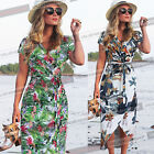 Womens Bohemian Wrap Belted Tropical Floral Summer Beach Party Long Dress 1066