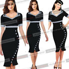 Womens Elegant Vintage Bow Button Party Evening Prom Mermaid Bodycon Dress 717