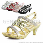 New Girls Rinestone Pageant Wedding Party Heels T78K ( 9T-13T, Youth 1-4 )