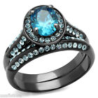 2.1ct Sea Blue CZ Light Black EP Wedding Engagement Bridal Le Glace Ring Set