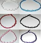 BEADED ANKLET BLACK PINK COTTON SILVER BEADS WOMEN BEACH GIRL SURF NEW