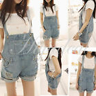 Fashion Women Girls Washed Jeans Denim Casual Hole Jumpsuit Romper Overall Short