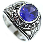 Navy Purple Oval Stone US Military .925 Sterling Silver Mens Ring Size 12-13-14