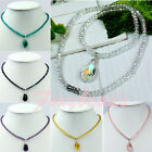 Chic Teardrop Dangle Faceted Crystal Glass Beads Necklace Womens Jewelry Gift