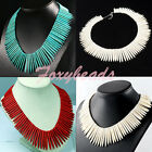 "HOT Womens Blue Howlite Turquoise Gems Spike Beads Necklace Jewelry Colors 18""L"