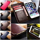 Genuine Leather Wallet Case Cover for iPhone & Samsung New Top For Apple
