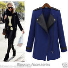WF43 Celebrity Style Wool Blended Leather Jacket Zipper Winter Coat Jacket