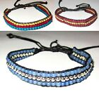 BEADED BRACELET & ANKLET blue or red women men beach surfer boy girl beach
