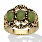 Genuine Green Jade 14k Gold-Plated Antique-Finish Triple-Stone Filigree Ring