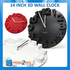 ROUND LARGE 14INCH RETRO 3D WALL CLOCK MODERN LIVING ROOM STUDY OFFICE BLACK RED