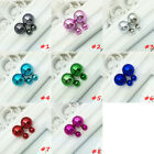 Fashion Candy Color Rainbow Double Side Two Ball Earrings Stud Bling Mirror
