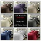 Luxury 100% Egyptian Cotton Duvet Cover 300 TC Satin Stripe + Oxford Pillowcases