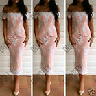 Womens Off Shoulder Bodycon Evening Party Cocktail Ladies Midi Prom Pencil Dress