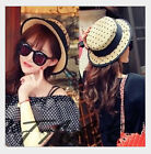 Lady Fashion Wide Brim Summer Sun Hat Straw Net yarn bowknot Cap