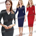 Women Elegant Celebrity Style V Neck Ruched Wear to Work Party Pencil Dress 1165