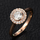 Moissanite Diamond Engagement Wedding Ring 14K Rose Gold,5mm Round Cut,Flower