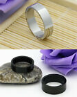 6MM Titanium Brushed Wedding Stainless Steel Solid Silver Black Ring Men Women