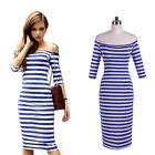 Women Off Blue & White Shoulder Striped Fitted Stretch Bodycon Lady Pencil Dress