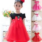 Flower Girl Princess Bow Dress Kid Party Pageant Wedding Bridesmaid Tutu Dresses