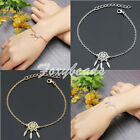 Womens Dreamcatcher Bohemian Leaf Feather Tassel Gold Silver Bracelet Jewelry