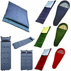 SLEEPING BAG BAGS MUMMY SINGLE DOUBLE CAMPING MAT COMFORTABLE WITH CARRY BAG