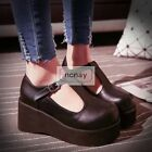 Women High Platform Creeper T-Strap Mary Jane Womens Wedge Heel Pumps Shoes wh14