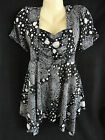 New Black White Dot Paisley Babydoll Drip Hem Tunic Top 1X 2X 3X Yummy  PLUS