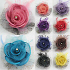 2015 NEW Summer Style Girls baby flower hair bow clips brooch handmand 12 Color