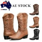 Womens Pointy Toe Cowboy Western Vintage Festival Mid-Calf Leather Black Boots