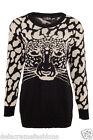 Women's Plus Size Top Ladies Chunky Knit Warm Tiger Print Jumper CLEARANCE SALE