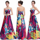 Women Strapless Colorful Satin Printed Maxi Evening Party Cocktail Dress 09603