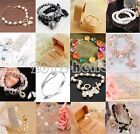 Fashion Women Lots Style Rhinestone Pearl Bangle Charm Cuff Bracelet Jewelry