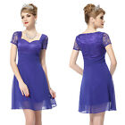 Women's Lace Cap Sleeve Halter Casual Short Cocktail Party Dress 05020